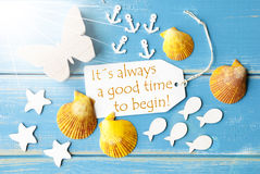Il tempo di citazione di Sunny Summer Greeting Card With comincia sempre Fotografia Stock Libera da Diritti