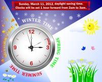 Il tempo di risparmio di luce del giorno comincia. Fotografia Stock