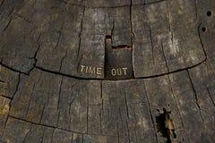 Il tempo fuori ha scolpito nel vecchio ceppo Fotografie Stock