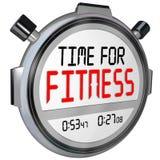 Il tempo per forma fisica esprime l'esercizio di allenamento del temporizzatore del cronometro Fotografia Stock Libera da Diritti