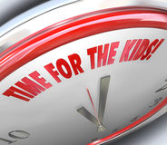 Il tempo per i bambini cronometra la cavità speciale della ricreazione del gioco di parole 3D Fotografia Stock