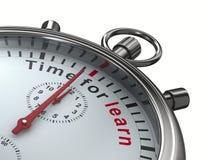 Il tempo per impara Cronometro su priorità bassa bianca Immagini Stock Libere da Diritti