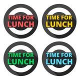 Il tempo per le icone del pranzo ha messo con ombra lunga Fotografia Stock Libera da Diritti