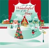 Il tempo più meraviglioso Cartolina di Natale Immagine Stock