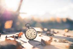 Il tempo va vicino: aria aperta d'annata dell'orologio; legno e foglie fotografie stock libere da diritti
