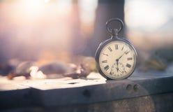 Il tempo va vicino: aria aperta d'annata dell'orologio; legno, foglie e sole fotografie stock libere da diritti