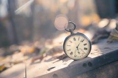 Il tempo va vicino: aria aperta d'annata dell'orologio; legno, foglie e sole fotografie stock