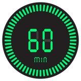 Il temporizzatore digitale verde 60 minuti, 1 ora cronometro elettronico con un quadrante di pendenza che avvia l'icona, l'orolog royalty illustrazione gratis