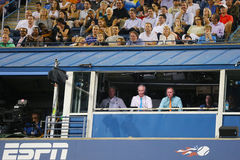 Il tennis professionista Gael Monfis pratica per l'US Open 2014 a Billie Jean King National Tennis Center Immagine Stock Libera da Diritti