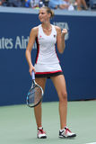 Il tennis professionista Karolina Pliskova della repubblica Ceca celebra la vittoria dopo che la sua partita rotonda quattro all' fotografia stock