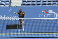 Il tennis professionista Tomas Berdych pratica per l'US Open 2014 a Billie Jean King National Tennis Center Immagini Stock Libere da Diritti