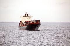Il terminale di trasbordo per lo scarico del carico del cemento dalla riva cranes Una vista degli ancoraggi con le navi da carico fotografie stock libere da diritti