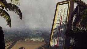 Il termometro Fahrenheit Celsius mostra l'abbassamento della temperatura durante la tempesta Il concetto di riscaldamento globale video d archivio