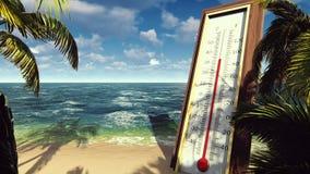 Il termometro Fahrenheit Celsius mostra la temperatura di aumento Il concetto di riscaldamento globale archivi video