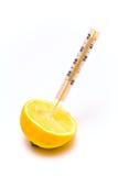 Il termometro medico ha attaccato in una fetta di limone immagine stock