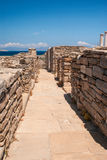 Il terrazzo antico sull'isola di Delos Fotografia Stock