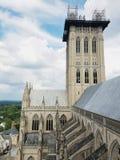 Il terremoto ha danneggiato la torre centrale a Washington National Cathedral, agosto 2017 Immagine Stock