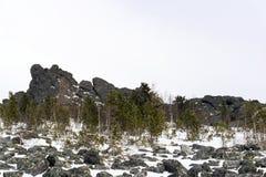 Il terreno boscoso al piede di granito oscilla negli altopiani Fotografia Stock
