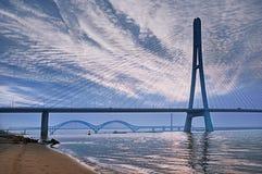 Il terzo ponte su Yangtze Rive a Nanchino Fotografie Stock