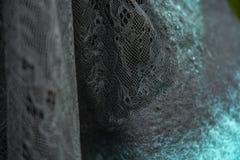 Il tessuto ha ritenuto per merlettare decorativo verde, progettazione, fotografia stock libera da diritti