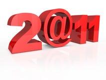 Il testo 2@11 2011 ha isolato su priorità bassa bianca Fotografia Stock Libera da Diritti