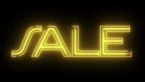 Il testo al neon giallo di VENDITA del laser è publicato animazione su fondo nero - retro moto d'annata di ballo della discoteca  illustrazione vettoriale