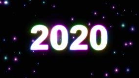 il testo 2020 in arcobaleno leggero di esplosione di Big Bang colora il ciclo brillante di animazione su piacevole fresco qualità illustrazione di stock