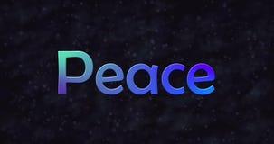 Il testo blu di pace si gira in polvere verso la destra stock footage