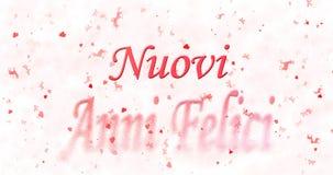 Il testo del buon anno in italiano felici di anni di Nuovi si gira verso polvere immagini stock libere da diritti