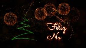 """Il testo del Buon Natale nell'animazione """"di Feliz Navidad"""" dello Spagnolo con il pino ed i fuochi d'artificio illustrazione vettoriale"""