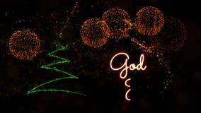 """Il testo del Buon Natale nell'animazione dello svedese & norvegese """"di Dio luglio"""" con il pino ed i fuochi d'artificio illustrazione vettoriale"""