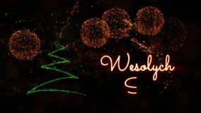 """Il testo del Buon Natale nello Swiat dei polacchi animazione di Wesolych"""" con il pino ed i fuochi d'artificio royalty illustrazione gratis"""
