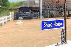 Il testo dell'etichetta è casa delle pecore Immagine Stock Libera da Diritti