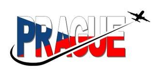Il testo della bandiera di Praga con l'aereo e mormora l'illustrazione Fotografie Stock Libere da Diritti