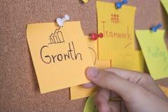 Il testo della crescita sulla nota o sulla posta appiccicosa è sul tabellone per le affissioni del bollettino del sughero immagini stock