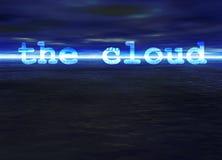 Il testo della nube sull'orizzonte di mare luminoso blu dell'oceano Fotografia Stock Libera da Diritti