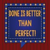Il testo della scrittura fatto è migliore di perfetto Il significato di concetto non si preoccupa per la perfezione ma per fare i illustrazione vettoriale