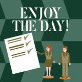 Il testo della scrittura gode del giorno Concetto che significa tempo di rilassamento di stile di vita felice di godimento illustrazione vettoriale