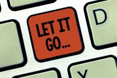 Il testo della scrittura lo ha lasciato andare Il significato di concetto sceglie di non fare le reazioni circa un'azione o di no illustrazione vettoriale