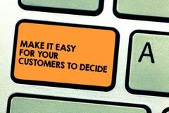 Il testo della scrittura lo rende facile affinchè i vostri clienti decida Concetto che significa chiave di tastiera di scelte par illustrazione di stock