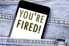 Il testo di annuncio della scrittura che vi mostra è infornato Concetto di affari per i disoccupati o il telefono cellulare del t Fotografie Stock