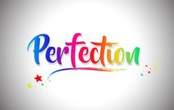 Il testo di parola della perfezione con i colori dell'arcobaleno e vibranti scritti a mano mormorano illustrazione vettoriale