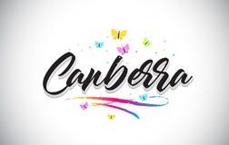 Il testo di parola di vettore di Canberra con le farfalle e variopinto scritti a mano mormorano illustrazione di stock
