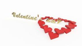 Il testo di San Valentino perfora il cuore dei cuori Fotografia Stock