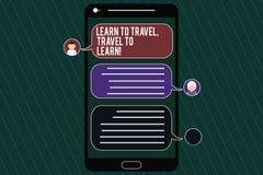 Il testo di scrittura di parola impara viaggiare viaggio da imparare Concetto di affari per i viaggi Make per l'apprendimento del fotografia stock libera da diritti