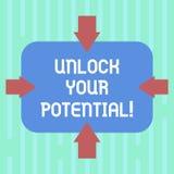 Il testo di scrittura di parola sblocca il vostro potenziale Concetto di affari per Unleash le abilità che possono condurre a suc illustrazione vettoriale