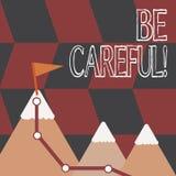 Il testo di scrittura di parola sta attento Concetto di affari per assicurarsi della prevenzione contrattempo del pericolo o del  illustrazione vettoriale