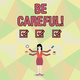 Il testo di scrittura di parola sta attento Concetto di affari per assicurarsi della prevenzione della donna di affari potenziale illustrazione vettoriale