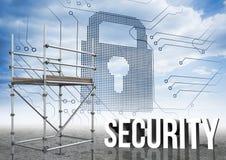 Il testo di sicurezza con l'armatura 3D e la serratura collegano illustrazione vettoriale