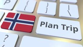 Il testo di VIAGGIO di PIANO e la bandiera della Norvegia sulla tastiera di computer, viaggio hanno collegato l'animazione 3D archivi video